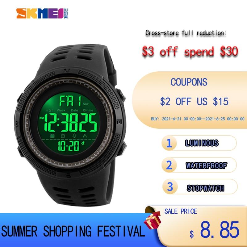 SKMEI Brand Men Sports Watches Fashion Chronos Countdown Waterproof LED Digital Watch Man Military Wrist Watch Relogio Masculino