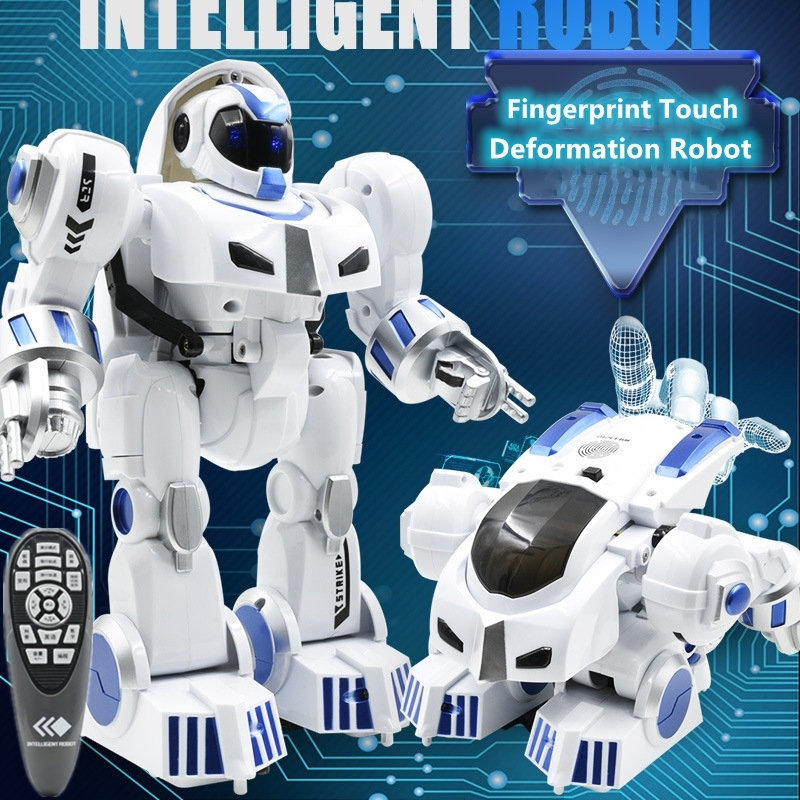 Fingerprint Touch Deformation RC Robot Intelligent Programming Action Combination Slide Walk Switch Pulley Cool Light RC Kid Toy