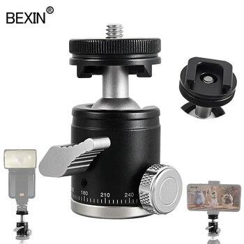 Camera Mini Ball Head Monopod Ball Head Tripod Head 360 Panoramic Head With Hot Shoe Base Mount Adapter For DSLR Camera Flash цена 2017