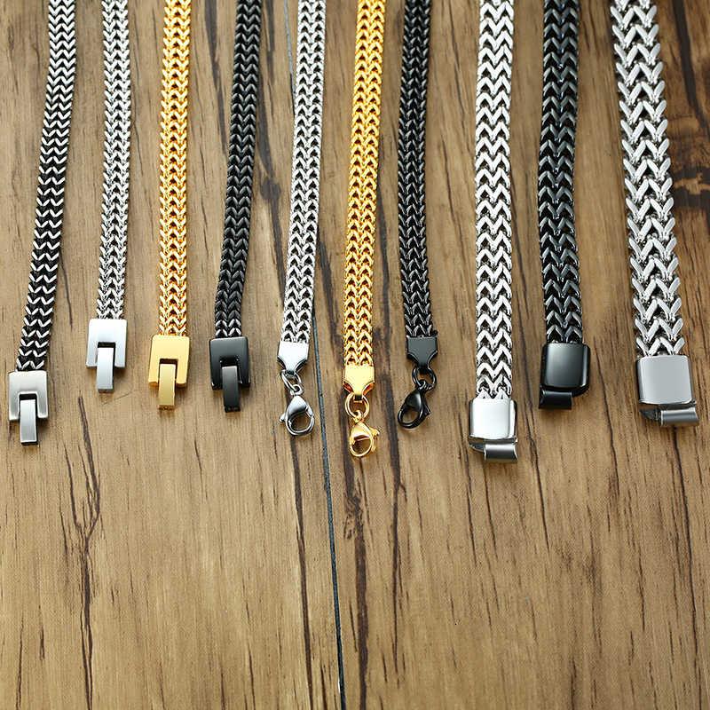 Vnox Vintage Kühlen Doppel Curb Kette Armbänder für Männer Silber Edelstahl Punk Cubic Kette Männlichen Pulseira