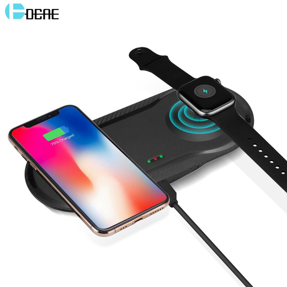 DCAE Qi Wireless Charger For iPhone 11 X XS XR 8 10W Fast 2 in 1 Charging Pad for Airpods Pro Apple Watch 5 4 3 2 Samsung S10 S9|Wireless Chargers| |  - title=