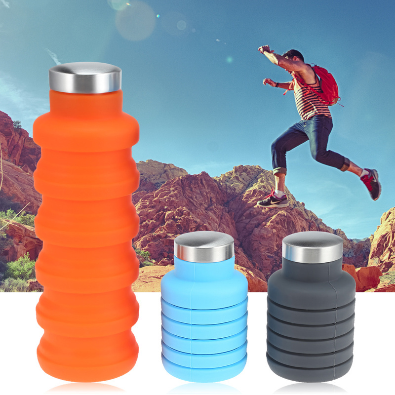 Portable Silicone Collapsible Water Bottle Hydroflask Retractable Outdoor Travel Camouflage Sports Drink Kettle Hydro Flask