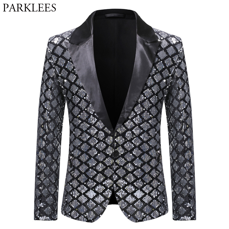 Silver Sequin Plaid Blazer Jacket Men 2019 Fashion Slim FIt One Button Dress Suit Blazer Male Party Wedding Stage Costume Homme