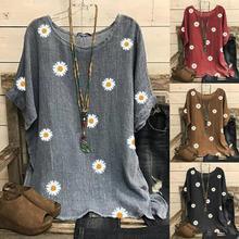 Camisa de crisantemo de verano para mujer, Blusa tipo túnica, Blusas Retro a cuadros, Camisa femenina, Blusa holgada informal Vintage