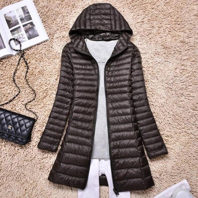 SEDUTMO Winter Duck Down Jackets Women Ultra Light Long Down Coat Spring Hoodie Puffer Jacket Slim Parkas ED876 5