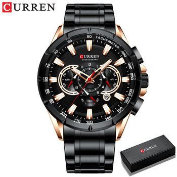CURREN New Causal Sport Chronograph Men's Watches Stainless Steel Band Wristwatch Big Dial Quartz Clock with Luminous Pointers 10