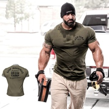 Men's Cotton Running Shirt Quick Dry Gym Sport Tshirt Short Sleeve Fitness Training Sportswear Men Bodybuilding Workout Tee Tops jeansian men s sport tee shirt tshirt t shirt tops gym fitness running workout football short sleeve dry fit lsl131 gray