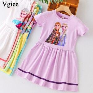 Vgiee/Летняя одежда для девочек платье «Холодное сердце» из 2 предметов костюм для маленьких девочек с изображением Анны и Эльзы праздничные п...