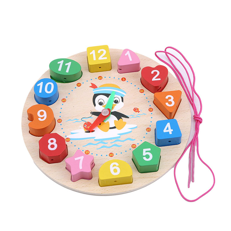 Montessori Toy Cartoon Animal Educational Wooden Beaded Digital Clock Puzzles Funny Gadgets Novelty Interesting Toy For Children