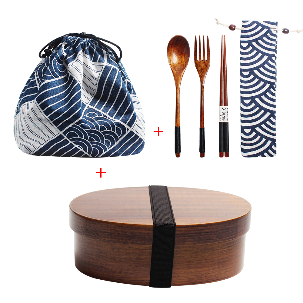 Holz Mittagessen Box Kit Japan Stil Bento Box für Kinder Sushi Container 1 Schicht Geschirr Student Holz Mittagessen Box mit fächer