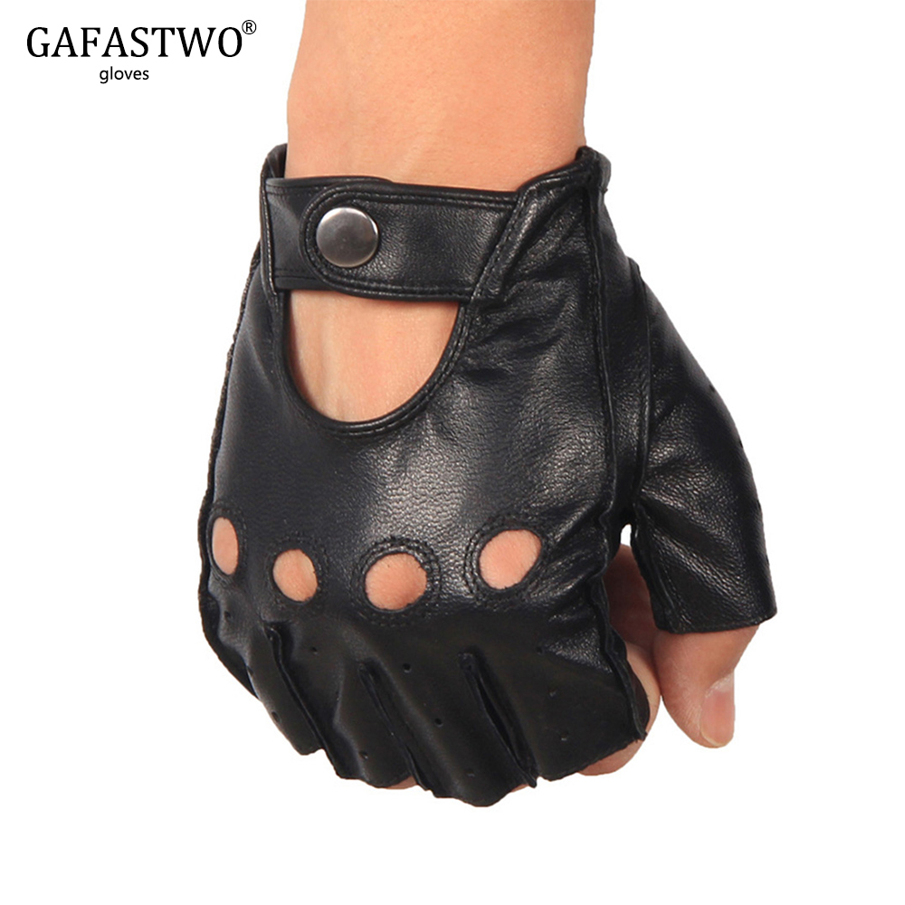 Half Finger Leather Gloves Women Driving Anti-skid Riding Tactics Sports Fitness Fingerless Goatskin Summer Thin Mens Gloves
