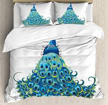 Peacock Duvet Cover Set Peacock Illustration Floral Classical Curvy Design Tropics Wildlife Theme Decorative 3 Piece Bedding Set(China)
