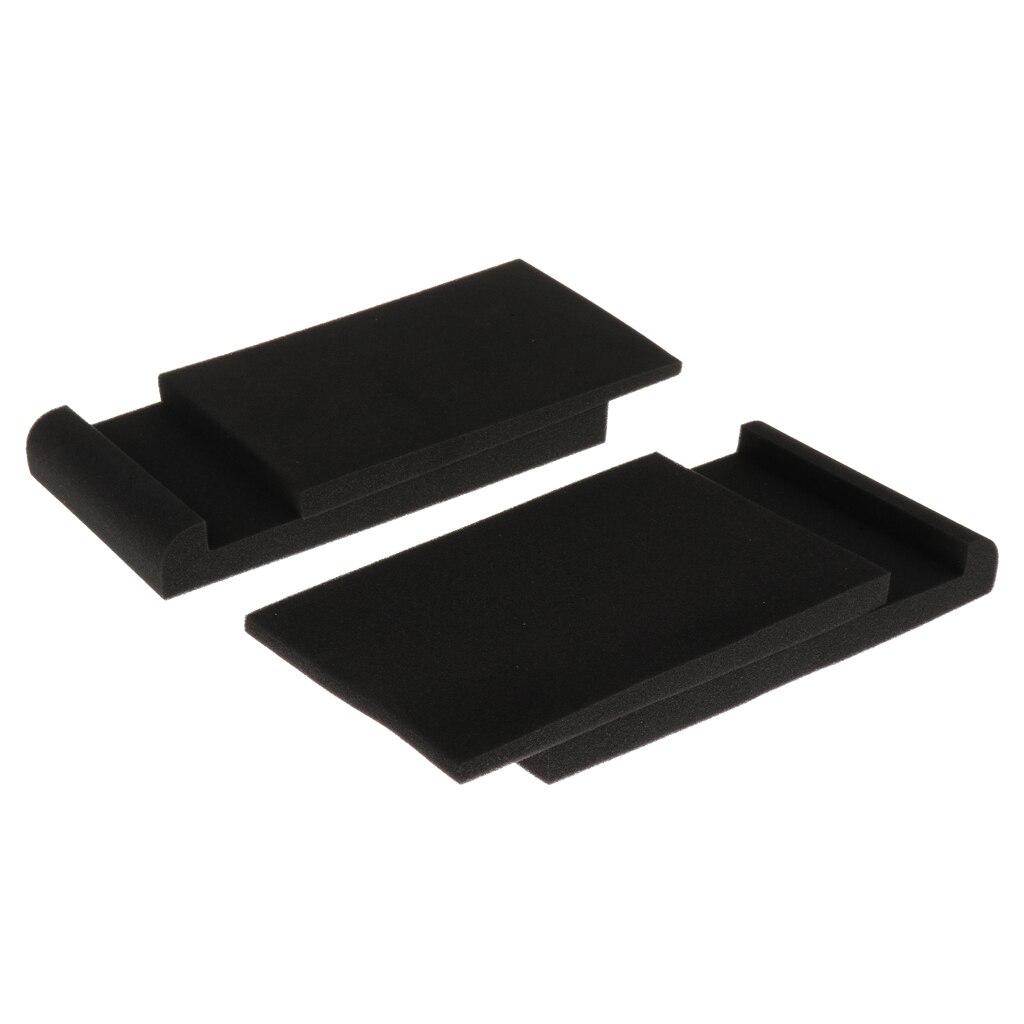 Durable 2pcs PU Loudspeakers Stereo Acoustic Foams Sound Isolation Sponge Panels Black