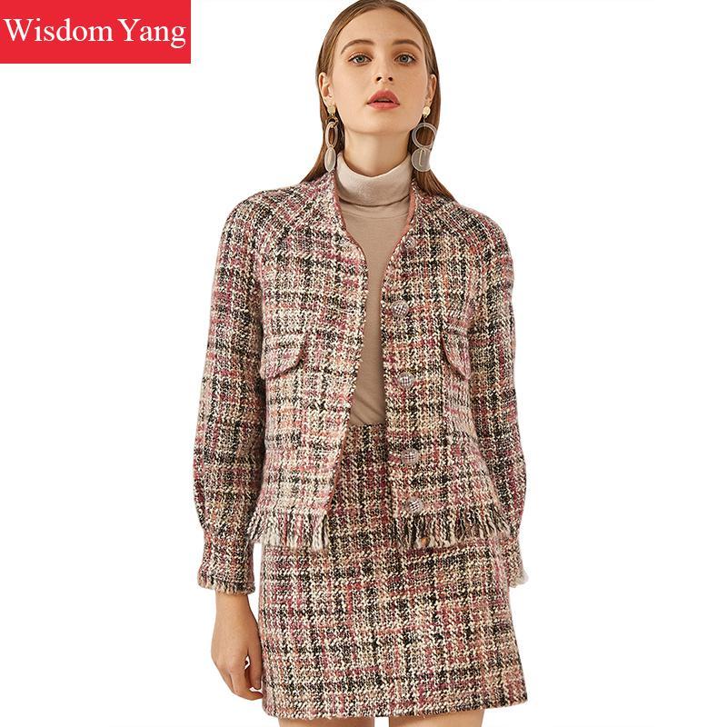 2 Pieces Set Winter Tweed Coats Womens Suits Jacket Pink Plaid Wool Vintage Ladies Short Coat Skirts Wrap Woolen Korean Overcoat