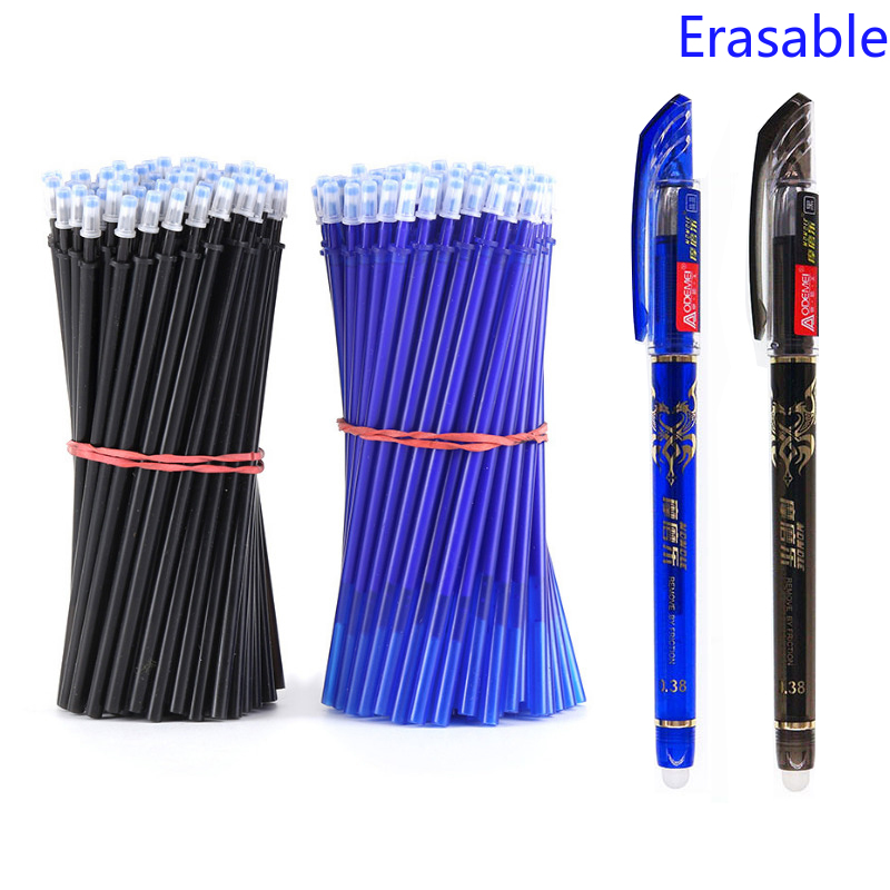 2+50Pcs/Set 0.5mm Blue Black Ink Gel Pen Erasable Refill Rod Erasable Pen Washable Handle School Writing Stationery Gel Ink Pen