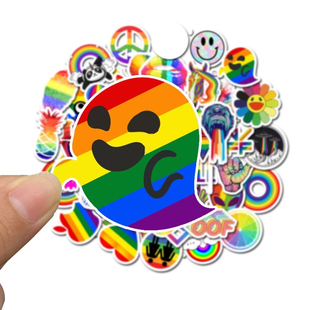 10/30/50pcs Pack Cartoon Rainbow Stickers Waterproof PVC Laptop Luggage Motorcycle Guitar Skateboard Car Kids Toys Cool Sticker