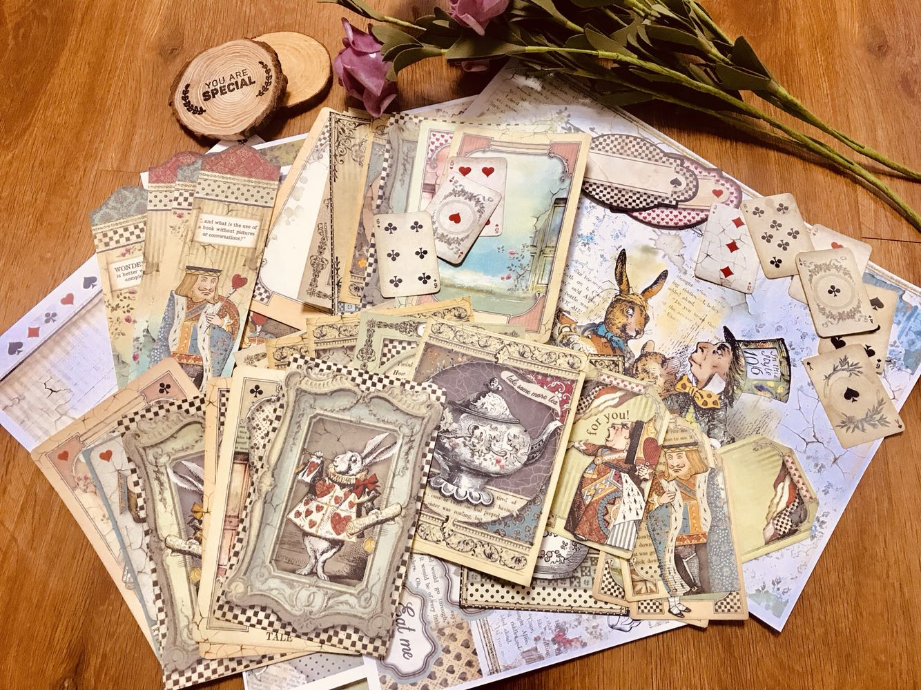 55PCS Alice Tea Party Series Vintage Labels\Notes\Teapots\Rabbits\Retro Borders\Old Poker Materials DIY Log Decoration Cards
