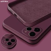 Custodia in Silicone liquido quadrata ufficiale per iPhone 11 12 Pro Max Mini custodia protettiva completa per iPhone XS MAX XR X 7 8 PLUS SE2 Cover