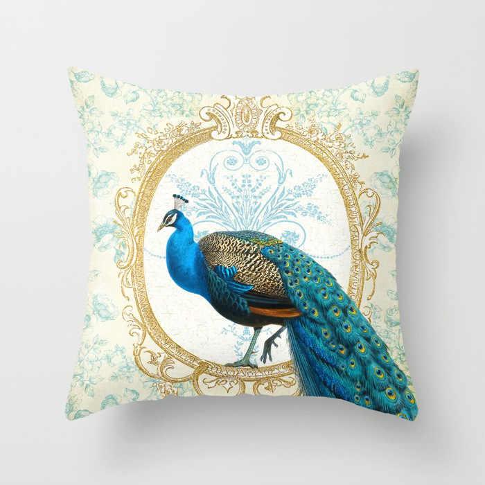 С принтом «павлиньи перья»; животный принт, Декоративная Подушка Чехол птица с цветочным принтом персиковый; кожа, вельвет чехол для подушки 45 см х 45 см