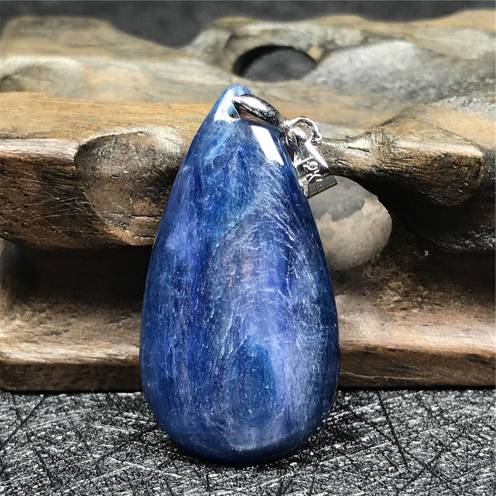 Top Natural Blue Kyanite Crystal Pendant For Women Lady 33x18x5mm Bead Cat Eye Gemstone Crystal Water Drop Necklace Pendant AAAA