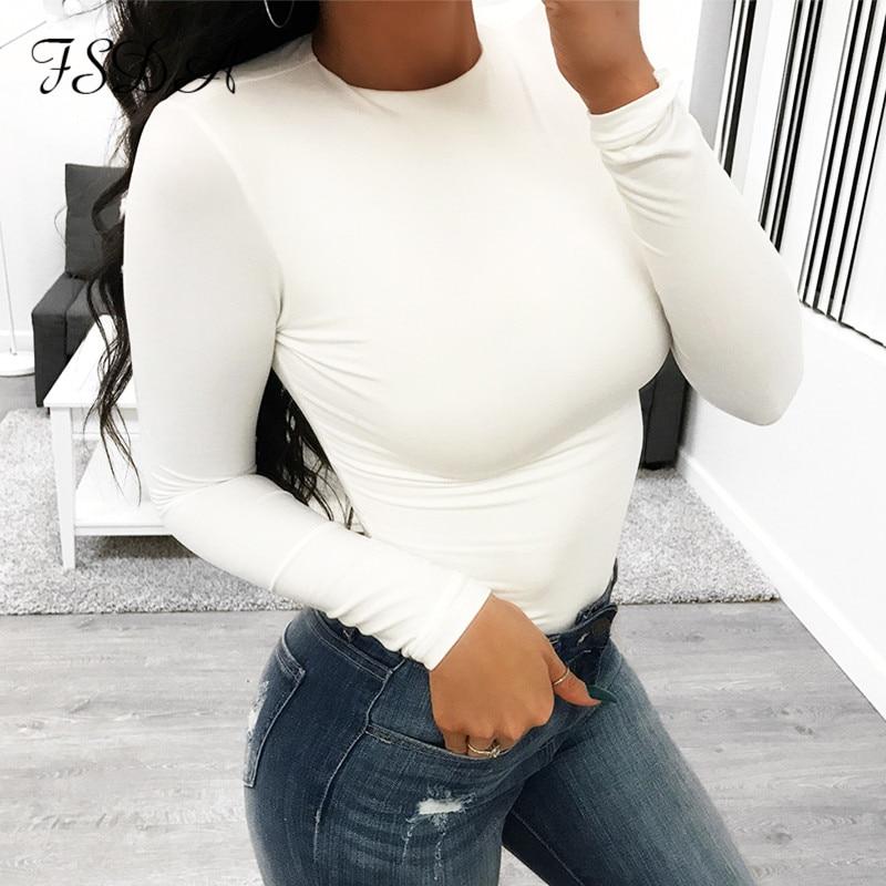 Long Sleeve Black Bodysuit O Neck Casual Spring Winter White Body Top Sexy Women 2020 Bodysuits Streetwear