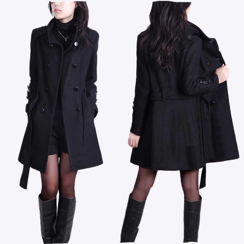 Casaco de lã feminino longo casaco de inverno fino casacos e jaquetas feminino espessamento coreano chaquetas invierno mujer kj274