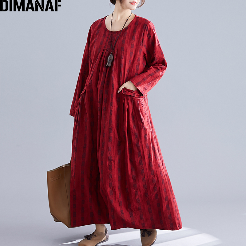 Image 3 - DIMANAF Plus Size Women Dress Winter Vintage Elegant Lady Vestidos Print Plaid Long Sleeve Female Clothes Loose Long Dress 2019-in Dresses from Women's Clothing