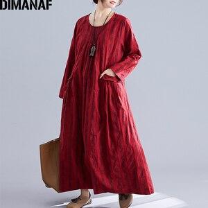 Image 3 - DIMANAF בתוספת גודל נשים שמלת חורף בציר אלגנטי ליידי Vestidos הדפסת משובץ ארוך שרוול נשי בגדי Loose ארוך שמלה 2019