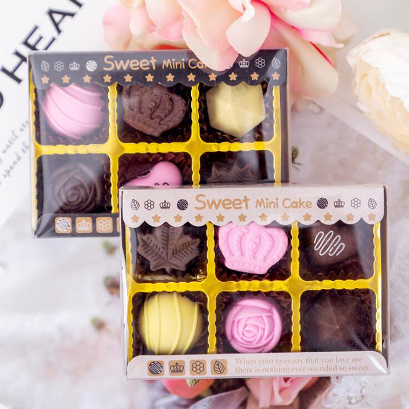 6 Pcs/set Creative Chocolate Cake Rose Boxed Pencil Eraser Set Children's Gift Writing Painting Correction Supplies Rubber