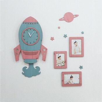 Kids Wall Clock Modern Design 3D Stickers for Children Room Nursery Wooden Clocks with Photo Frame Wall Watch Home Decor Silent