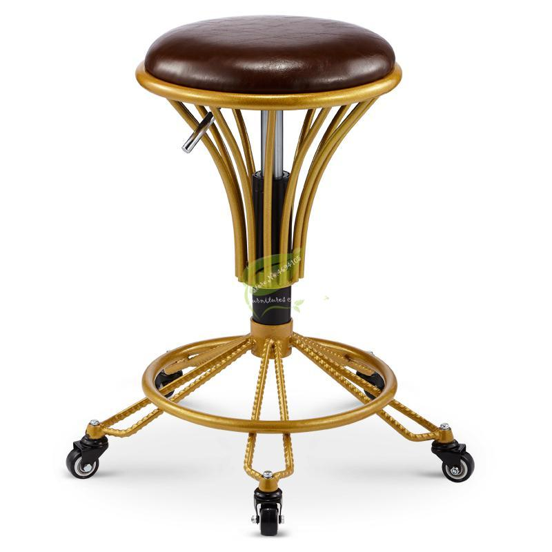N3Beauty Ergonomic Salon Stool Saddle Hydraulic Spa Stool Barber Special Pulley Stool Barber Shop Rotating Round Chair