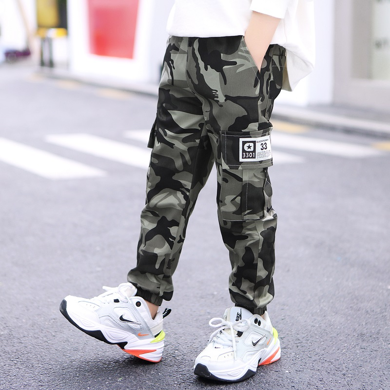 Spring Toddler Jogger Pants Korean 2020 Children Clothing Fashion Camouflage Cargo Pant for Boys Cotton Elastic Waist Trousers