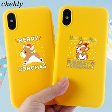 Merry Christmas Phone Case for iPhone X XR XS Max 8 7 6 S Plus Corgi Cases Soft Silicone Fitted Cell Accessories Covers