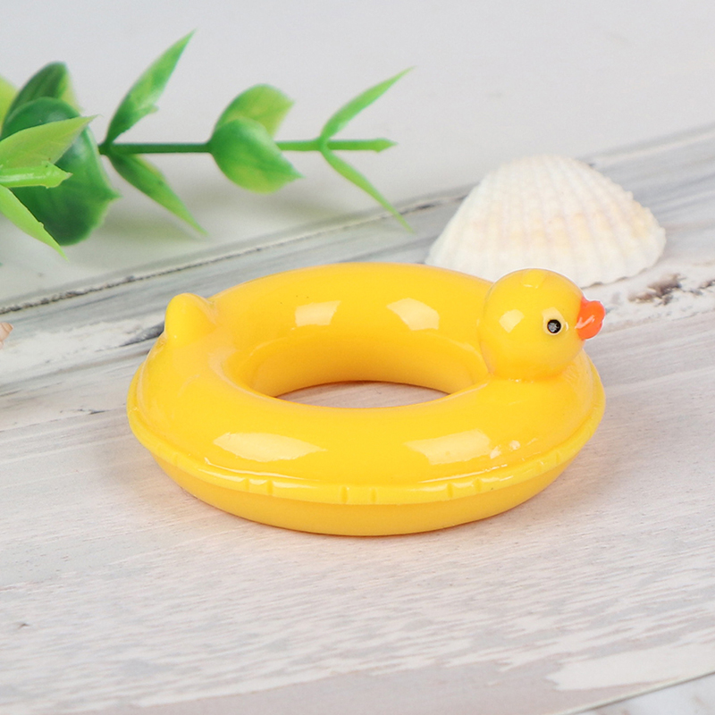 Cute 1pc Resin 1/12 Dollhouse Miniature Resin Duck Design Swim Rings Swimming Laps Lifebelt Bathroom Pool Accessories