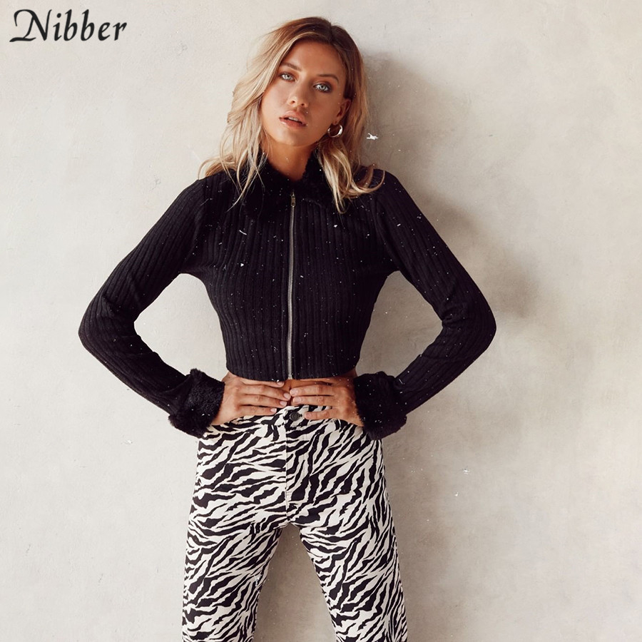 Nibber College Wind Faux Fur Zip Top Cardigan Sweater For Womens Fall Winter Harajuku Style Young Elegant Tops Streetwear Female
