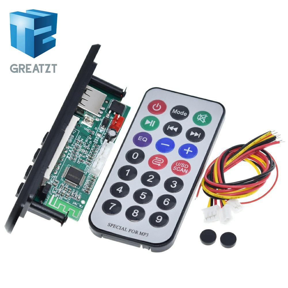 GREATZT Newest Arrival 1pcs Wireless Bluetooth 12V MP3 WMA Decoder Board Audio Module USB TF Radio For Car accessories