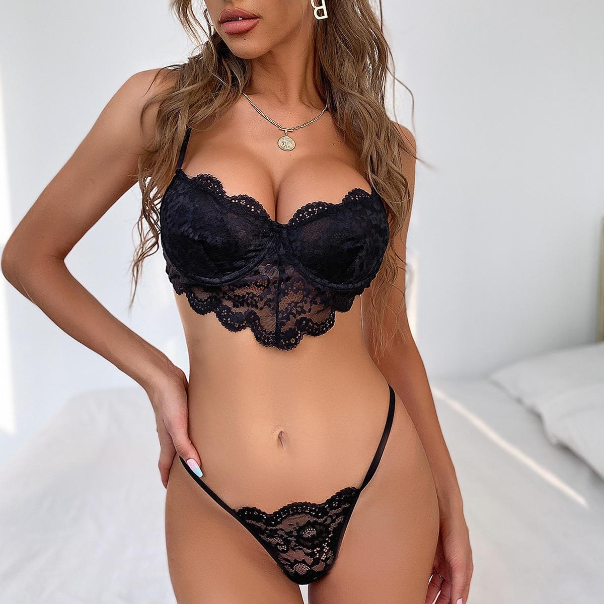 2 Pieces lace bra and panty set women sexy push up bra bodycon intimates lingerie set bralette lace brief set - underwear