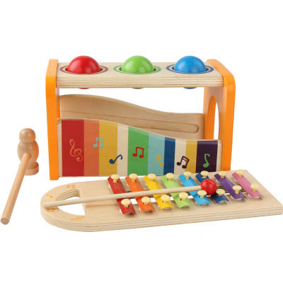 2020 New Hape Wooden Musical Instruments Toy Pound And Tap Bench Hammer Ball Xylophone For Children Kids Gifts