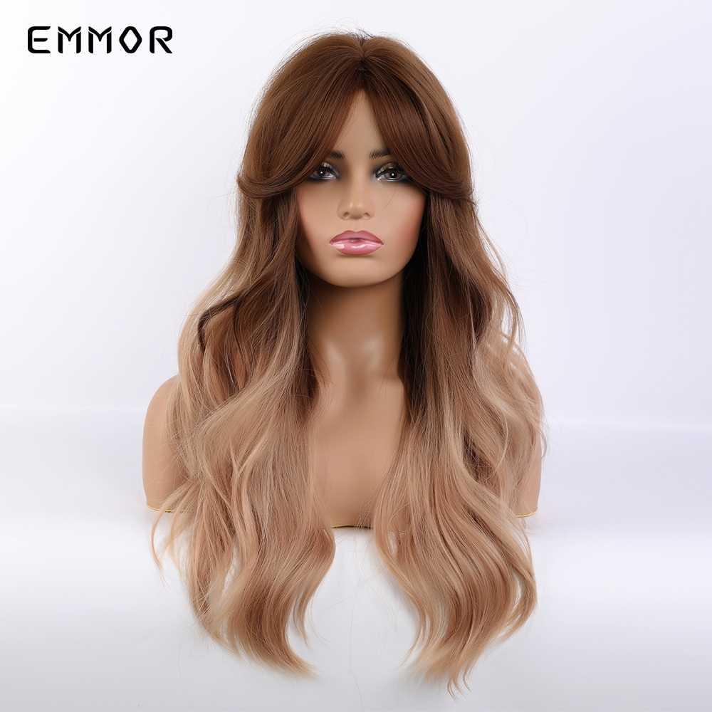 Emmor długie brązowe blond peruki syntetyczne Ombre z Bangs warstwowe faliste żaroodporne włosy Cosplay codzienna peruka dla białych czarnych kobiet