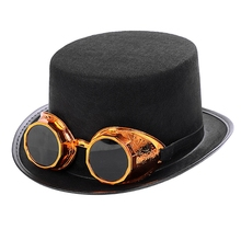 Victorian Steampunk Gothic Top Hat with Detachable Goggles Bowler Jazz Cap Halloween Cosplay Carnival Costume Accessory