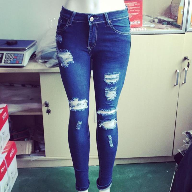 Jeans Summer Jeans Pants Fashion Casual Women Waist 2019 Boyfriend High Cotton Pencil Ripped Pocket Blue Style Fall Denim