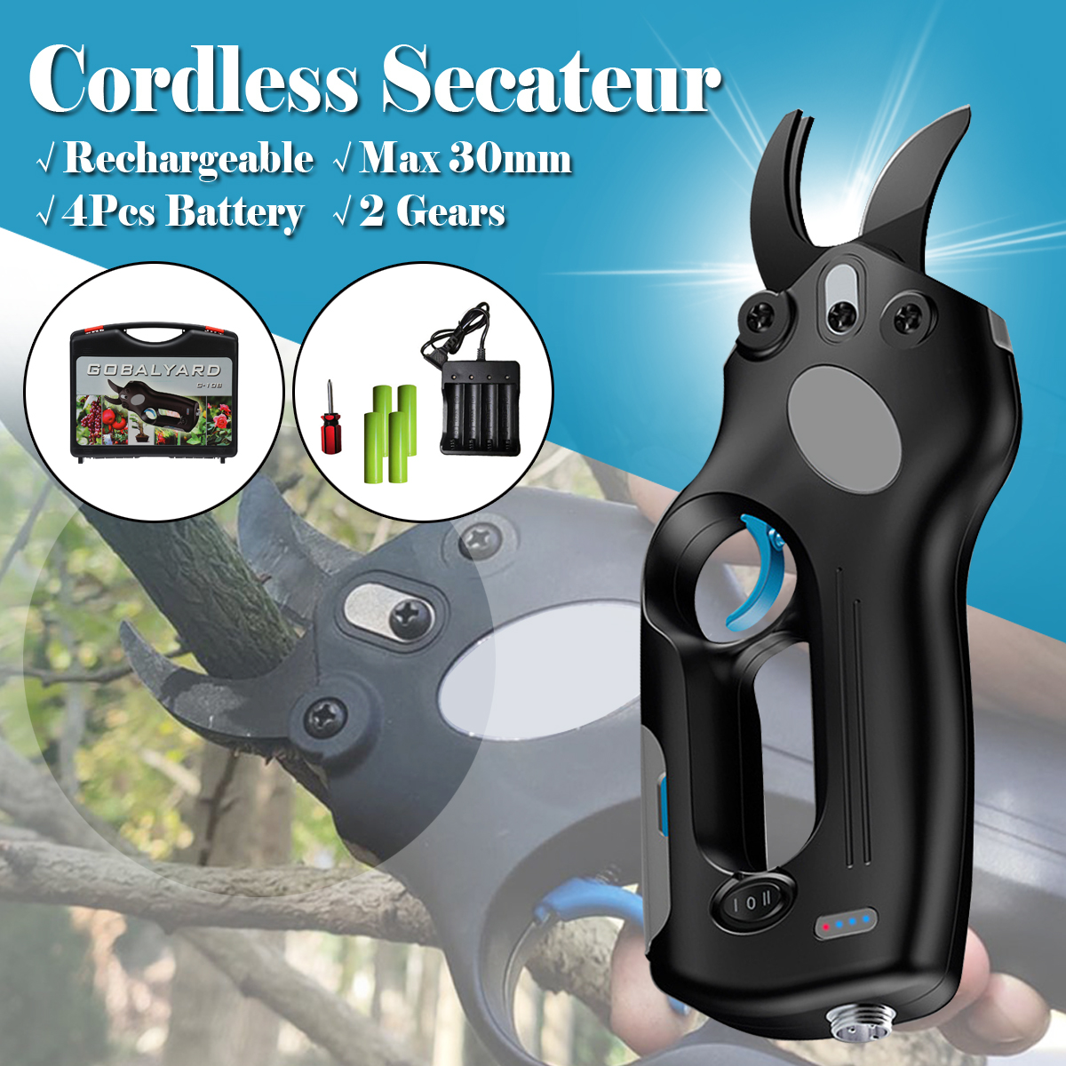 12V Wireless Cordless Electric Rechargeable Scissors Pruning Shears Tree Garden  Branches Pruning Tools With 4 Li-ion Battery