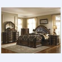 American high-grade solid wood bedroom furniture set leather bed 316