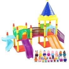 Figuras de acción de Peppa Pig, juguetes de George, Peppa pig, familia de amigos, modelo de escena Real, casa de parque de atracciones de PVC, juguetes de cerdo de Año Nuevo