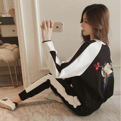 On Behalf Of 2019 Autumn And Winter New Style Harajuku Embroidered Loose-Fit Long Sleeve Casual Hoodie Suit Female Sports Trouse