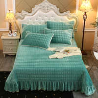 2019 new products Thickened crystal velvet Bedspread Fitted Sheet Pillowcases 2/3 Quilted embroidery lace Bedding.