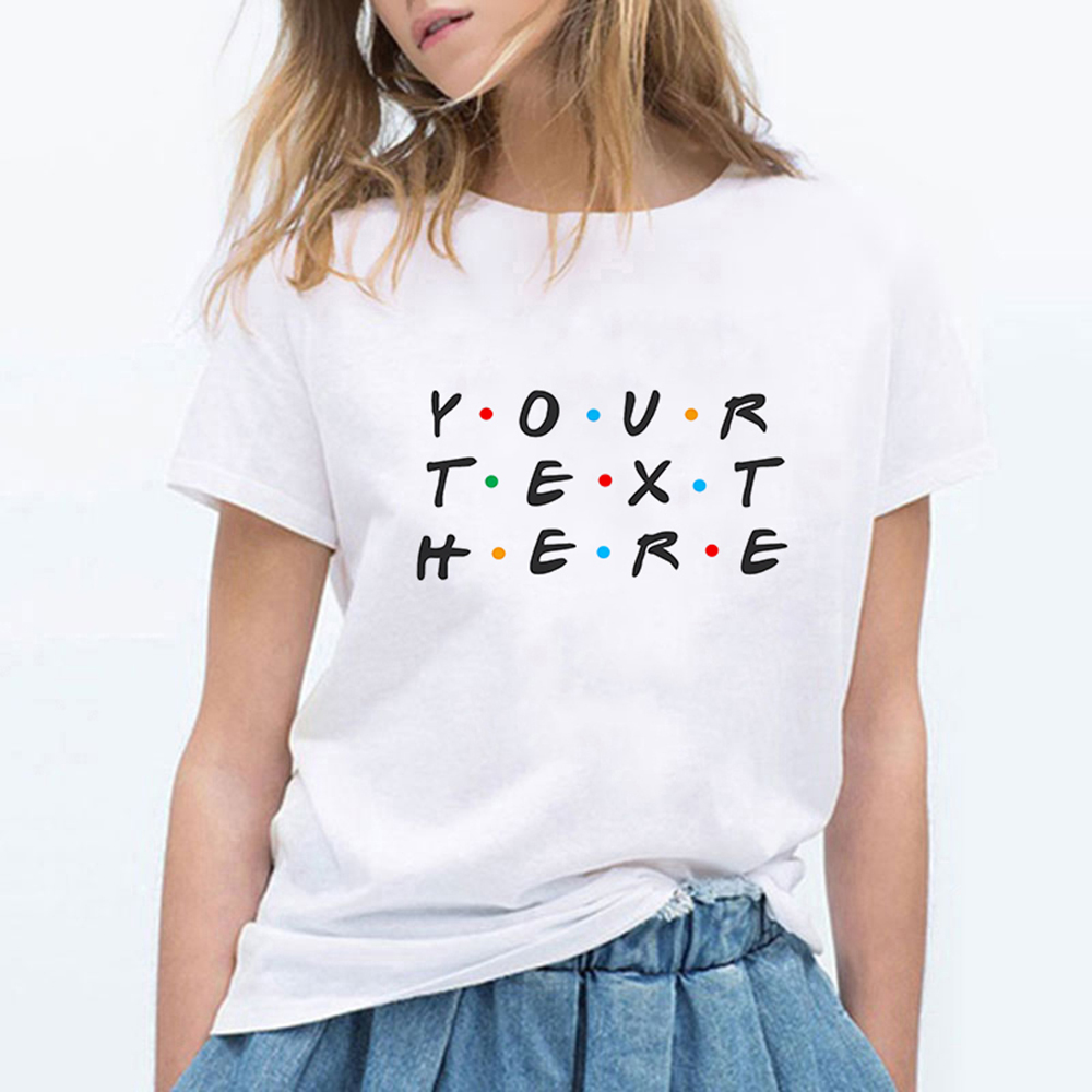 Women Summer YOUR TEXT HERE Printed Aesthetic Vintage T Shirts Women Kawaii Loose Punk Plus Size Harajuku Funny Vestidos