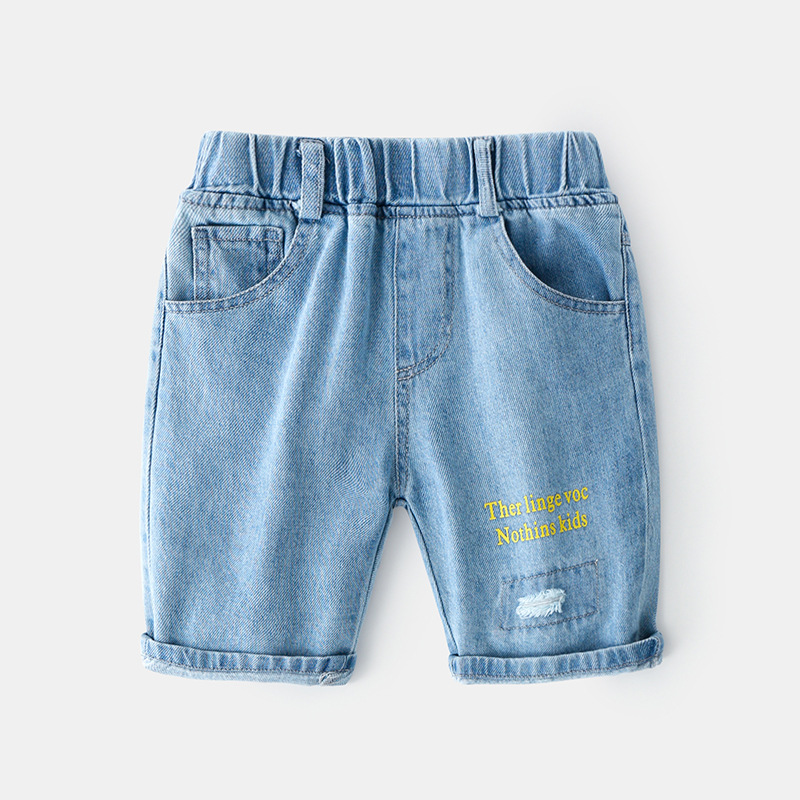 2020 Summer Korean Baby Boy Shorts Boy Jeans Pants Casual Jeans For Boys Kids Letter Baby Boy Jeans Clothes 1