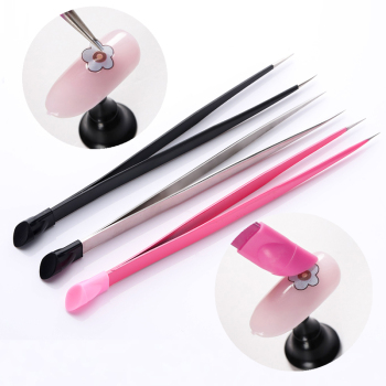 1pc 2 heads Straight Nail Tweezers with Silicone Pressing Head for 3D Sticker Rhinestones Water Sticker Picker Metal Nails Tools 1