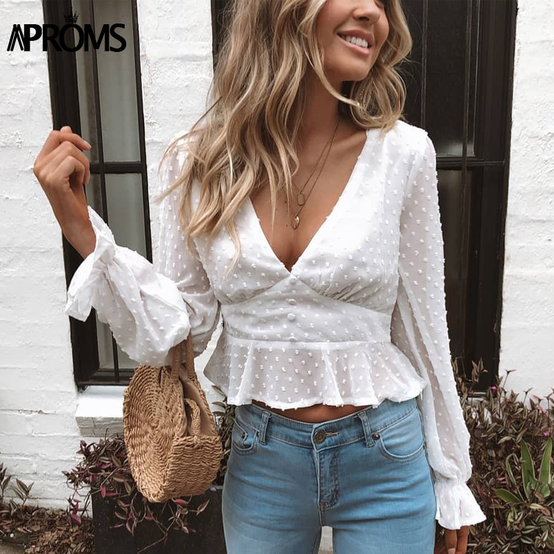 Aproms Elegant V-neck Ruffle Cropped Blouse Women White Polka Dot Buttons Chiffon Shirt Ladies Boho Lantern Sleeve Tops 2019